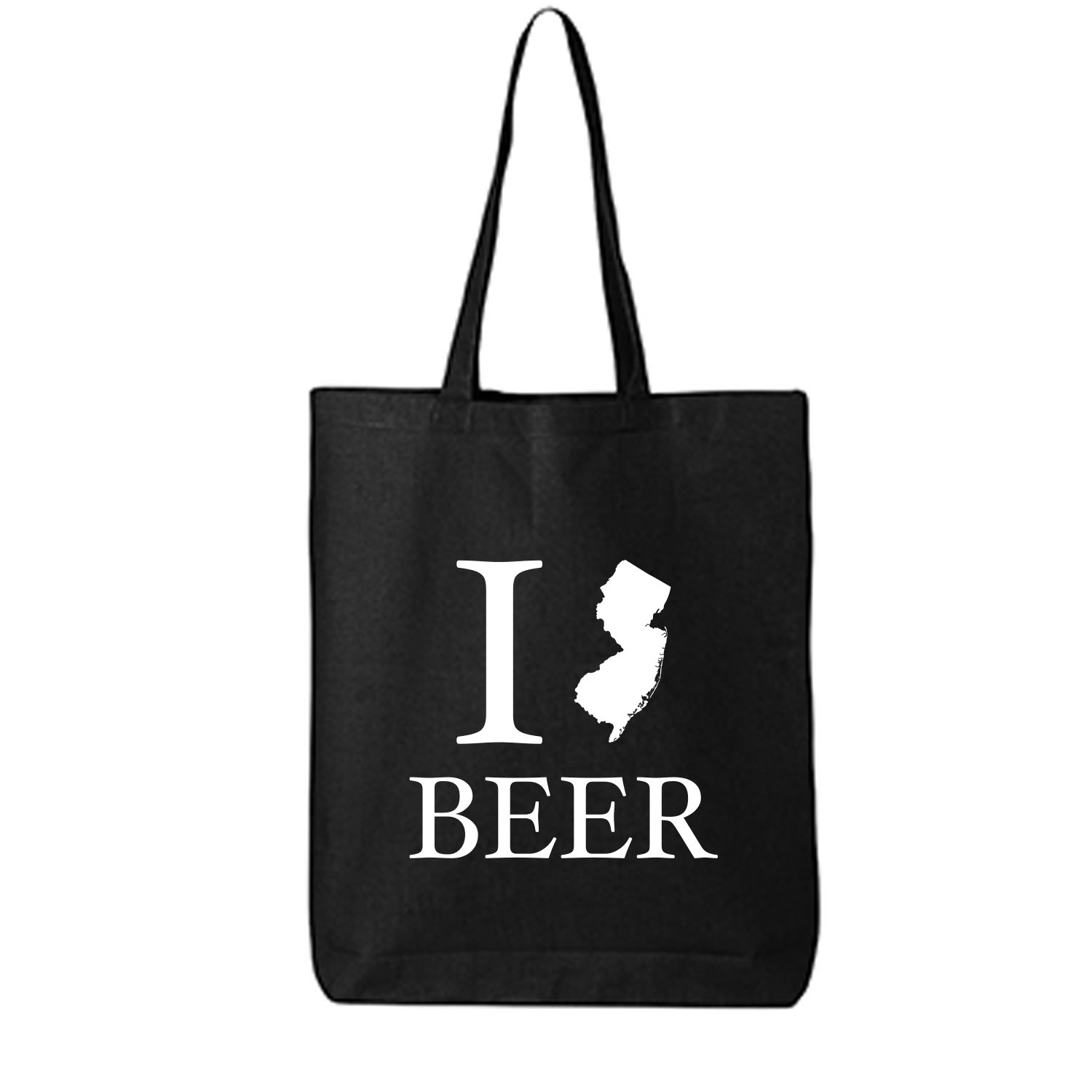 I Love New Jersey Beer Cotton Canvas Tote Bag in Black - One Size