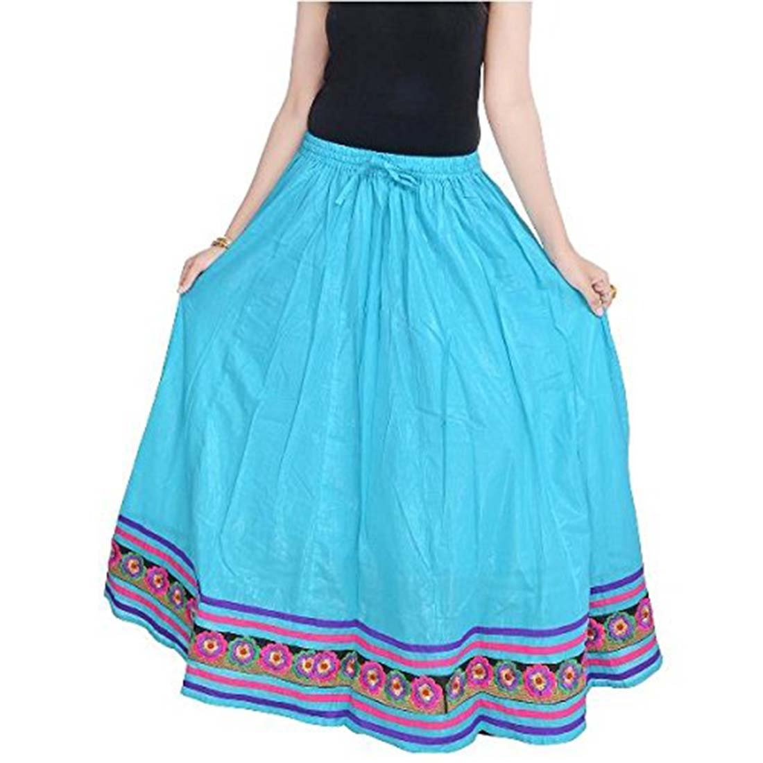 Indian Handicrfats Export Women Rajasthani Beautiful Sea Green Skirt(Light Sea Green)(SMSKT519)