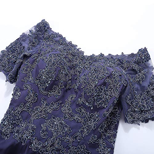 Gown Short Neck Lavender Formal Midi Macloth Of Mother Lace Sleeves Women Dress Bride V gTnqnH4F