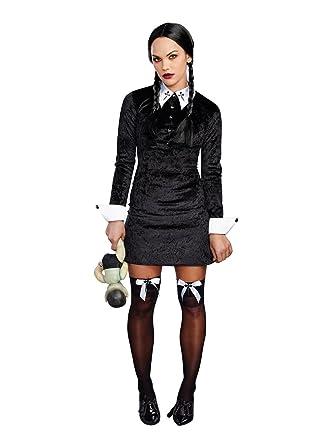 Captivating Dreamgirl Womenu0027s Friday Velvet Dress Halloween Costume, Black/White, Small
