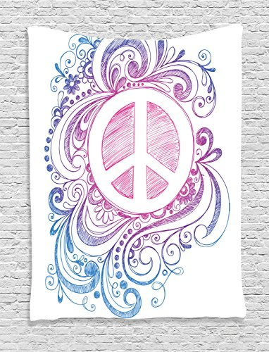 Groovy Decorations Tapestry by Ambesonne, Classic Hand Drawn Style Peace Sign And Swirls Freedom Change Hope Roll Icon, Bedroom Living Room Dorm Decor, 40 W x 60 L Inches, Pink Blue (Peace Sign Tapestries)