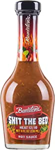 Bunsters Shit The Bed 12/10 Heat Hot Sauce - Chili Pepper Sauce, 8 fl oz - (1 x 8oz Bottle)