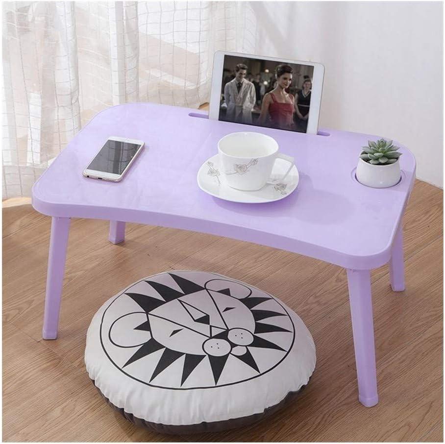 ZXC Home Folding Laptop Table Notebook Desk Computer Desk Breakfast Serving Bed Trays Adjustable Foldable Flip Top Legs Mini Office Desk (Color : Purple)