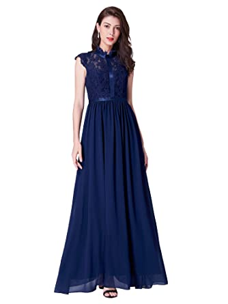 8d9518a3acda Ever Pretty Womens Lace Collar Ball Gowns Elegant A Line Long Chiffon  Formal Evening Dress 07379: Amazon.co.uk: Clothing