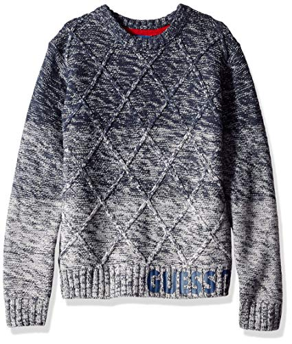 GUESS Boys' Big Long Sleeve Ombre Cable Knit Sweater, Blue Combo, -