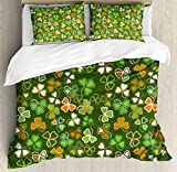 Ambesonne St. Patrick's Day Duvet Cover Set, Lucky Shamrocks Pattern Irish Clover Celebration Day Party Prints, 3 Piece Bedding Set with Pillow Shams, Queen/Full, Green and Orange