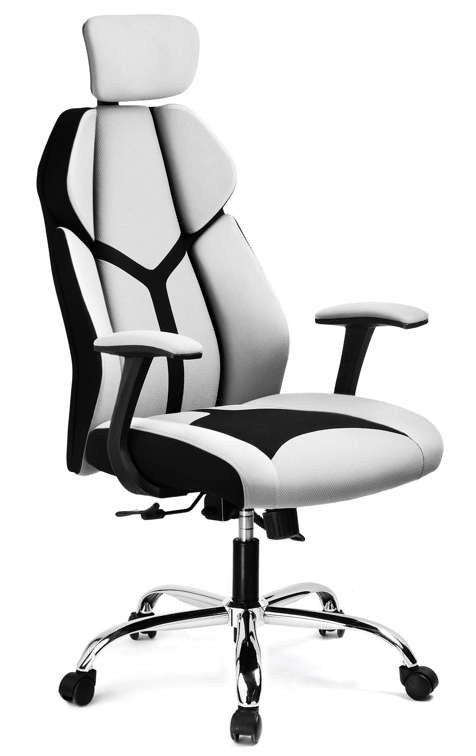 GTRACING Gaming Chair Soft Breathable Fabric Office Gaming Executive Chair Lumbar Support w Ergonomic Curved Deign Headrest Reclining Adjustable Computer Desk Home Chair Gray