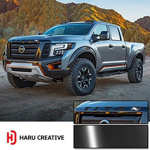 Haru Creative - Front Hood Grille Emblem Letter Insert Overlay Vinyl Decal Stickers Compatible with and Fits Nissan Titan XD 2016 2017 2018 - Gloss Black