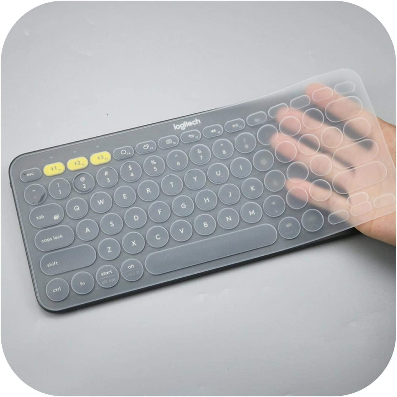 2020 Ultra Thin Silicone Laptop Keyboard Cover Skin Protector for Logitech K380 Keyboard-Whiteblue