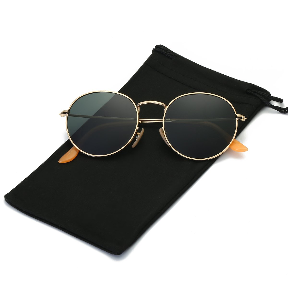 LKEYE Small Unisex Classic Vintage Round Mirror Lens Polarized Sunglasses LK1702 3447 Gold Frame/Dark green Lens by LKEYE