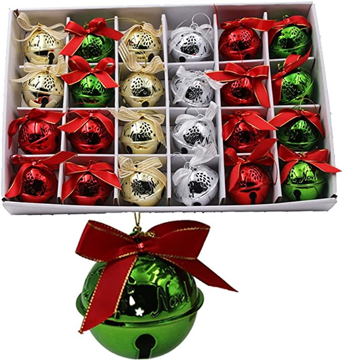 Renococo 4pcs Jingle Bells,Colorful Christmas Bells,Dusted Proof Wrought Iron Bells,Christmas Tree Accessories Hanging Ornament Christmas Bells