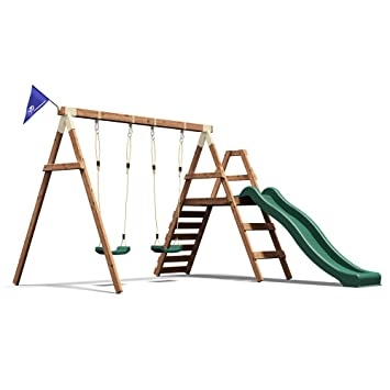 Dunster House Wooden Swing Set Wave Slide Kids Outdoor Garden ...