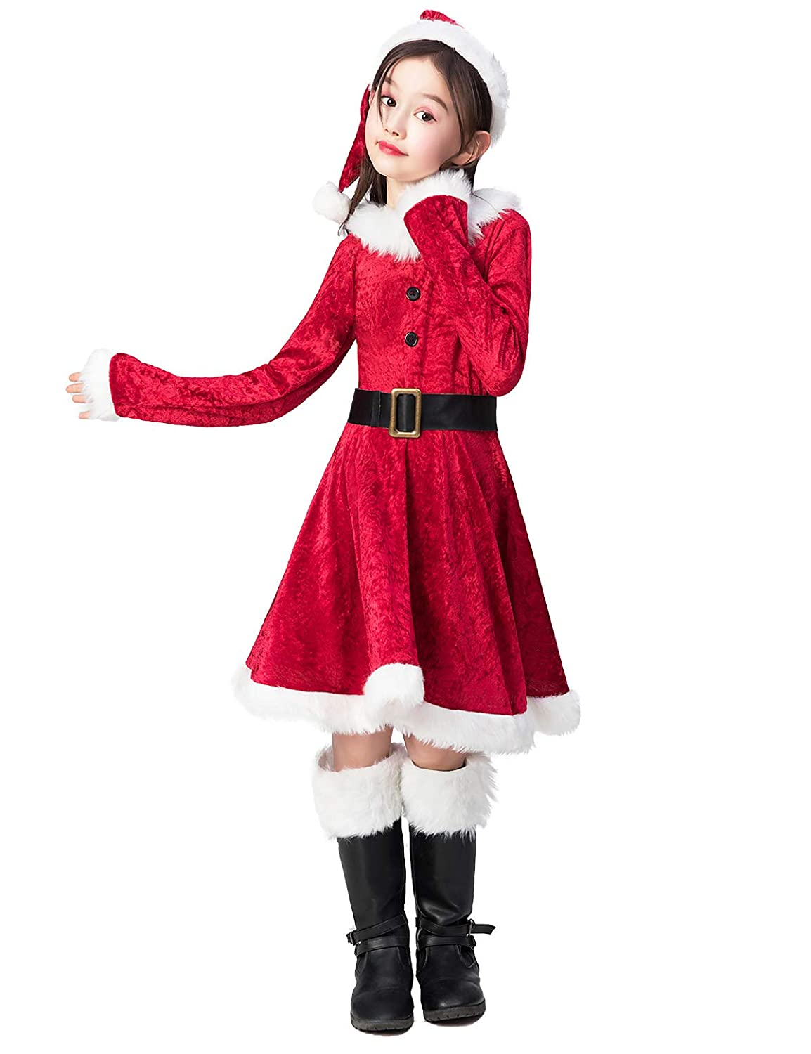 Takuvan Little Mrs Santa Suit Girls Christmas Dress Outfit Kids Halloween Cosplay Costume for Party
