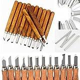 LANIAKEA Full Size Wood Carving Tools Set, 12 pcs Professional Woodcarving Chisel & Gouges Hand Tools Kit, with 4 pcs Whetstones