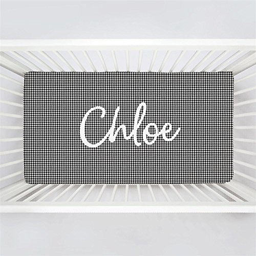 Chloe Fitted Sheet - Carousel Designs Personalized Custom Onyx Houndstooth Crib Sheet Chloe Idea - Organic 100% Cotton Fitted Crib Sheet - Made in The USA