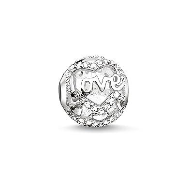 Thomas Sabo Women-Bead Heart of Love Karma Beads 925 Sterling Silver Zirconia white K0177-051-14 fuf1vcr7