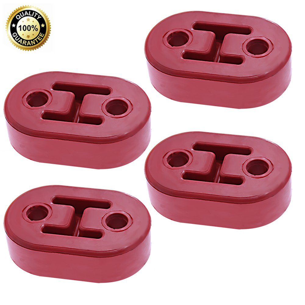Exhaust Tail Pipe Mount Rubber Heavy Duty Bracket Hanger Replacement 2-Holes Red pack of 4