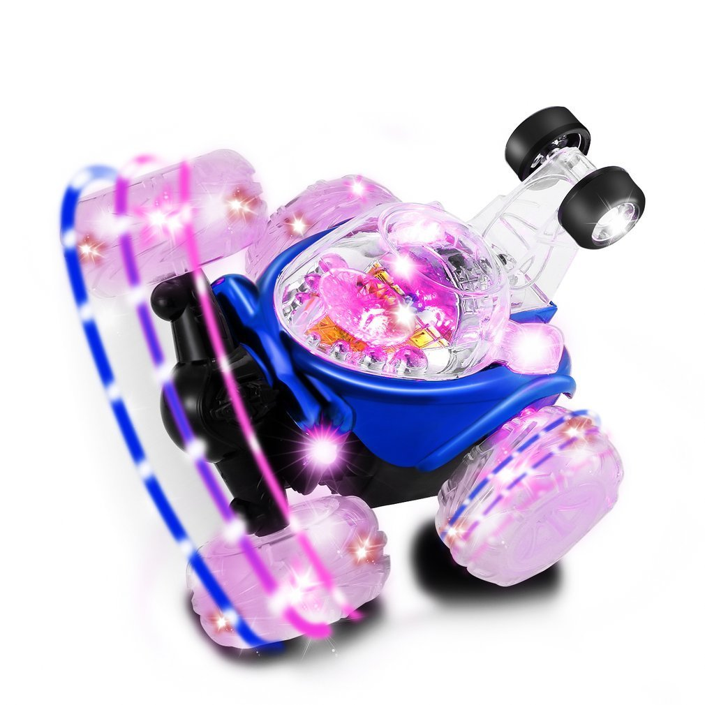 LESHP RC Rolling Stunt car,Invincible Tornado Twister Remote Control Truck,360 Degree Spinning and Flips with Color Flash & Music for Kids,blue