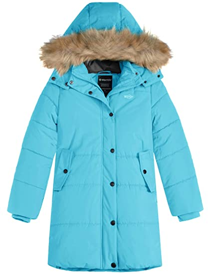 Wantdo Girls Winter Coat Thick Padded Parka with Fur Hood