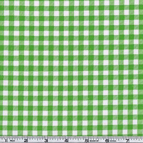 OilCloth International Oil Cloth Gingham Kiwi Green Fabric by The Yard,