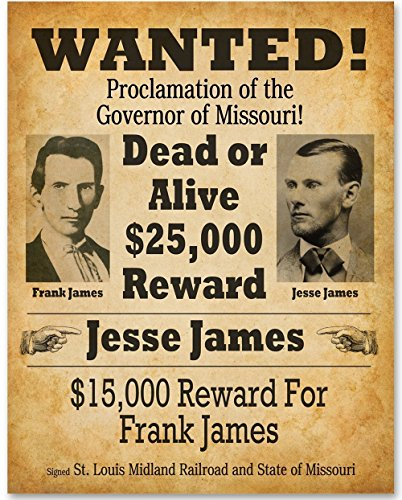 Jesse James Wanted Poster - 11x14 Unframed Print - Great Gift for Westerns (Western Wall Decor Cheap)