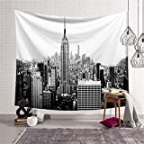 Black And White Empire State Building Tapestry Wall Hanging NYC New York Skyline Cityscape Wall Décor Decorative Art Window Curtain Table Cover Bedspread Beach Towel HYC44-4-L