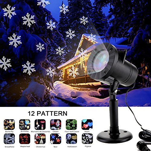 Christmas Decorations Projector lights MZD8391 outdoor Moving Rotating Projector LED Spotlights Waterproof Projection LED Lights for Wedding Halloween Party Xmas Decoration (12 Patterns) Exterior Holiday Decorations