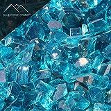 Blue Ridge Brand™ Aqua Blue Reflective Fire Glass - 50-Pound Professional Grade Fire Pit Glass - 1/2'' Reflective Fire Pit Glass Bulk Contractor Pack