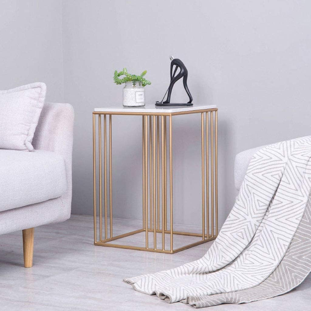 ACZZ Mesa auxiliar para sofá, mesa lateral de mármol, forja de ...