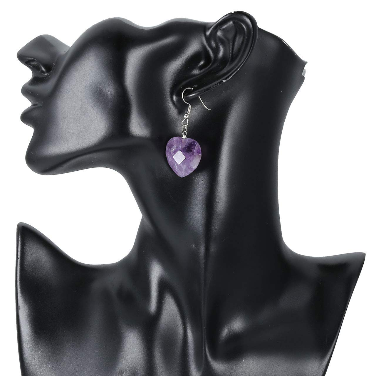 PESOENTH Natural Amethyst//Rose Quaurtz//Tiger Eye Gemstone Crystal Healing Reiki Heart Charm Dangle Drop Earrings Boho Jewellery for Women Girl Christmas Gifts