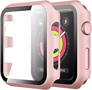 Simpeak Case with Glass Screen Protector Compatible with Apple Watch 42mm Series 1 2 3, Full Coverage Slim Hard Case Cover Built-in Tempered Glass Screen Protector Replacement for iWatch 42 mm (Rose Gold)