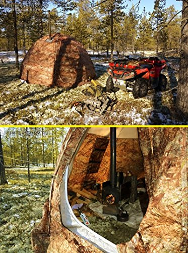 Russian-Bear Winter Tent with Stove Pipe Vent. Hunting Fishing Outfitter Tent with Wood Stove. 4 Season Tent. Expedition Arctic Living Warm Tent. for Fishermen, Hunters and Outdoor Enthusiasts! UP-2