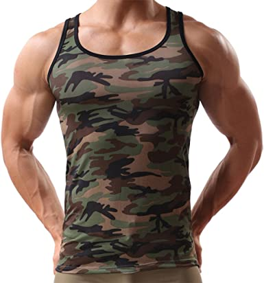 Men/'s Casual Slim Breathable Camouflage Sports Workout Vest T-Shirts Tank Tops