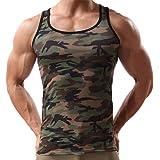 YanHoo Canottiera Sportiva da Uomo Sportiva Senza Maniche con maniche Mimetiche, Military Sleeveless Men's Camouflage Vest Sportswear Tank Top