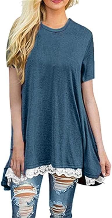 taglie forti girocollo Maglia da donna nuova tinta unita a maniche lunghe tops allungata t-shirt per tutti i giorni da donna