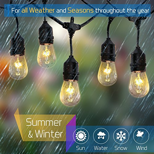Cabana Night Light - Outdoor String Lights- 48 Ft Heavy Duty Outdoor Weatherproof Lighting Strands- UL Listed Black Cable with 15 Hanging Sockets- 18 Bulbs- for Patio Garden Porch Backyard Party or Garden (48-Feet)