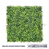 Windscreen4less Artificial Faux Ivy Leaf Decorative Fence Screen 20'' x 20'' Boxwood / Milan Leaves Fence Patio Panel 12 Pcs