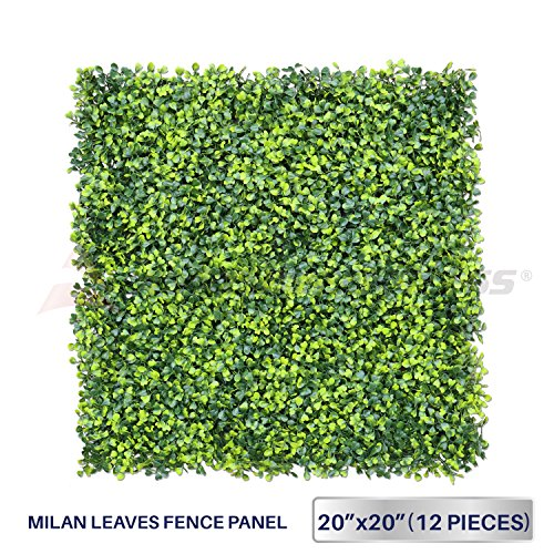 Windscreen4less Artificial Faux Ivy Leaf Decorative Fence Screen 20'' x 20' Boxwood / Milan Leaves Fence Patio Panel 12 Pcs