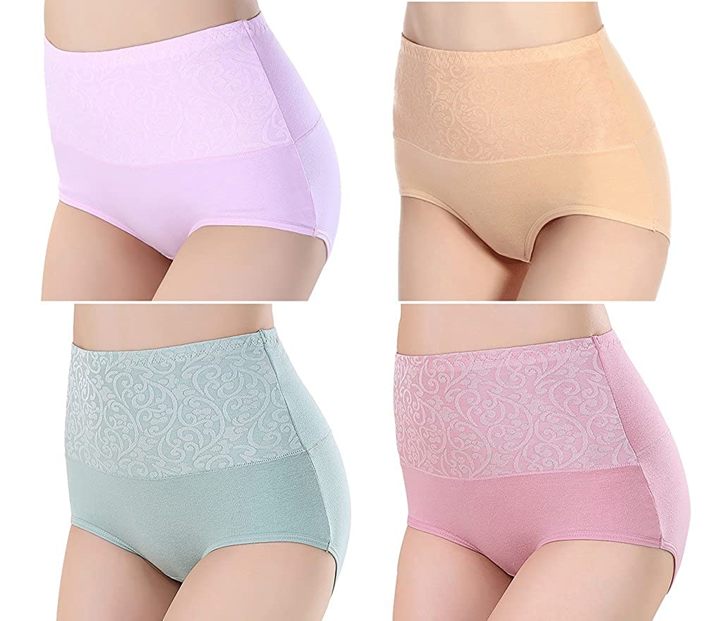 respeedime Flexible Briefs Seamless 4-Pack High Waisted Underwear for Women