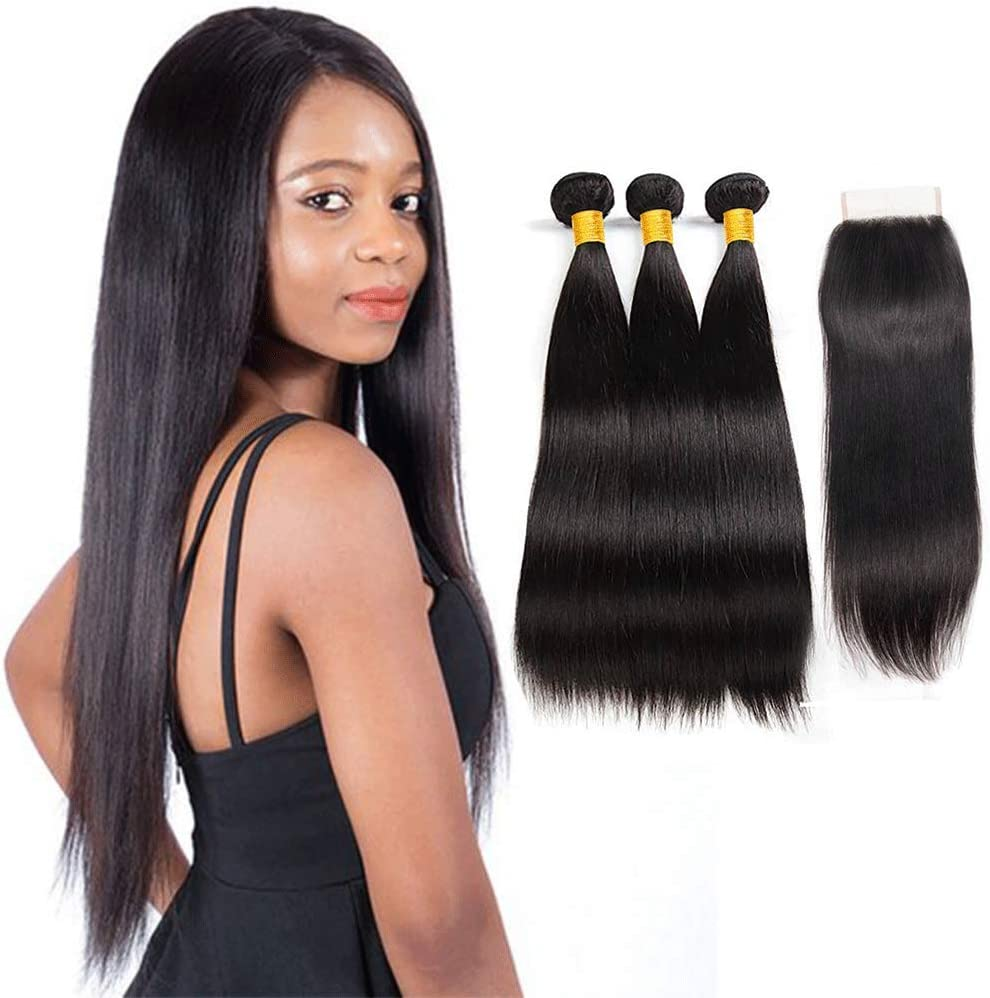 (puede ser teñido) Remy brasileño Virgen Pelo Liso 3 paquetes con libre parte encaje cierre alta calidad 8 un 100% pelo humano sin procesar de Brasil ...