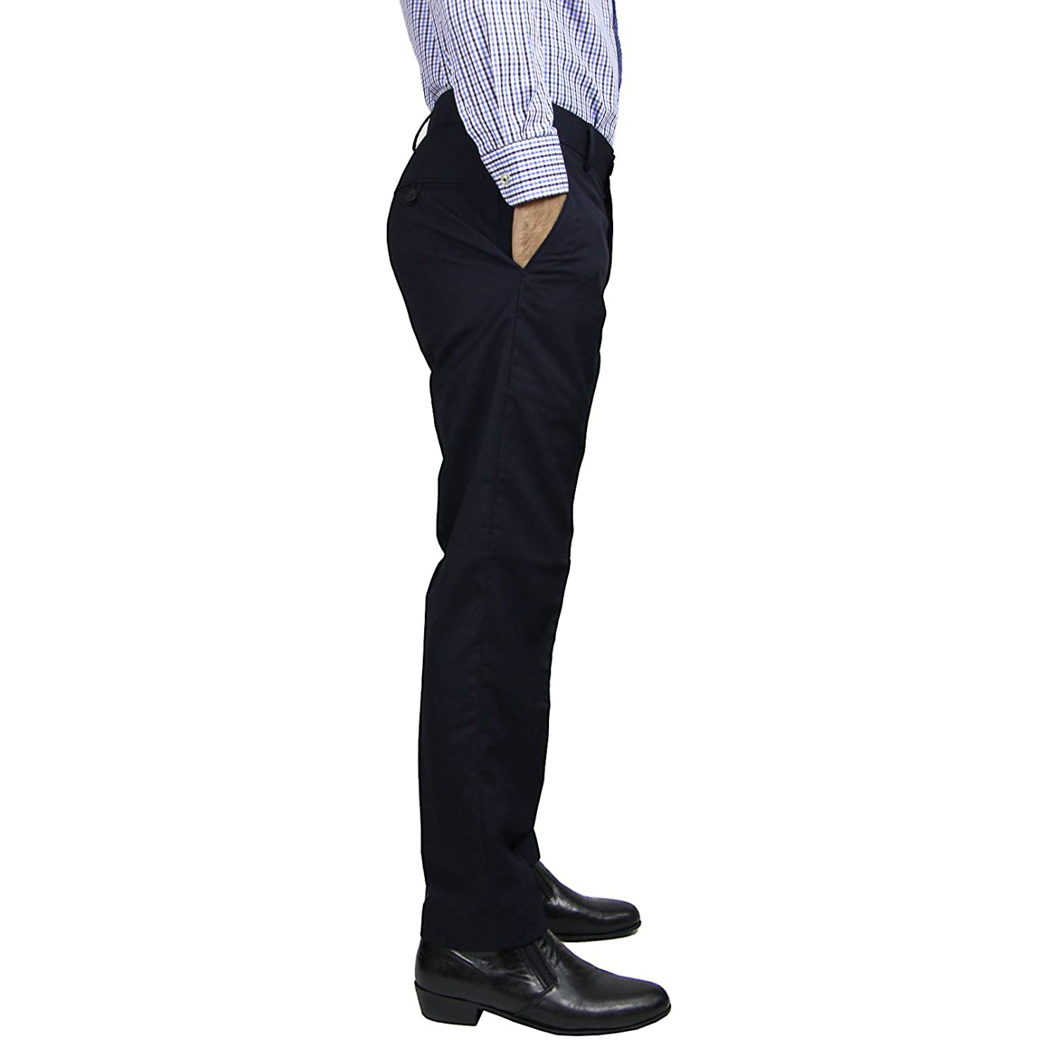 59850dba88 Identity Mens Stylish Slim Fit Straight Cut Corporate Wear Office Dress  Pants Slack Trousers - Navy Blue at Amazon Men s Clothing store