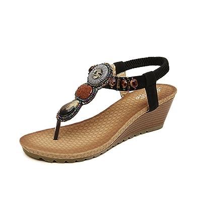48f1abafa21a DophinGirl Women Summer Wedge Sandals Black Jewels Beaded Platform Comfy  String Thong Fashion Shoes Prime