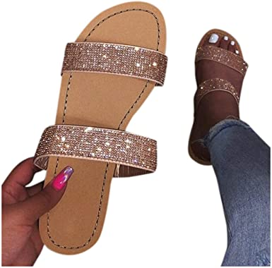 Rome Slippers for Women Peep Toe Flat Flip Flops Ladies Strap Slippers Casual Summer Beach Shoes for Women /& Shoes