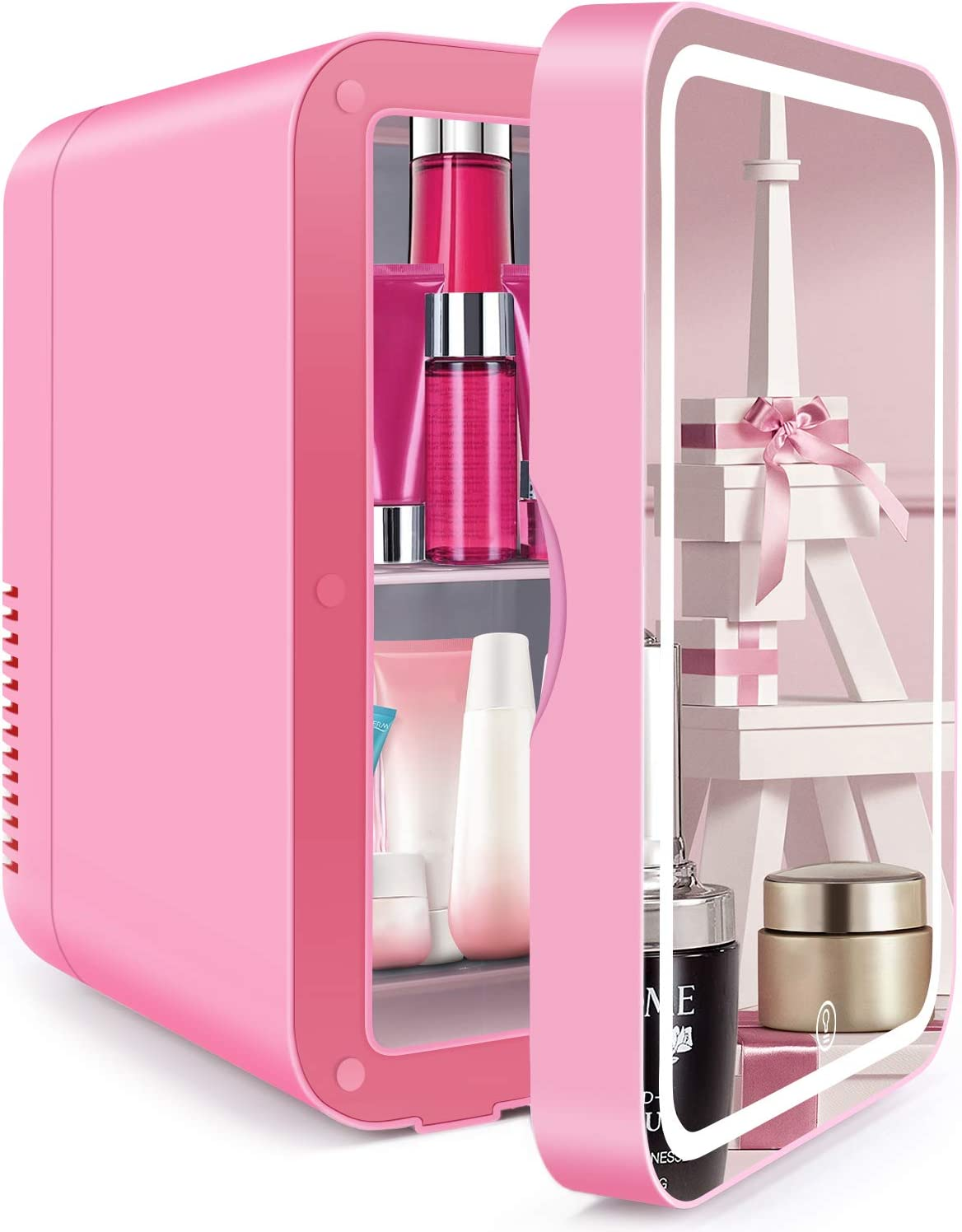 Mini Fridge 40 Liter, Portable Mirrored Beauty Fridge With LED Lighting,  AC/DC Portable Beauty Fridge Thermoelectric Cooler and Warmer for Skincare,  ...