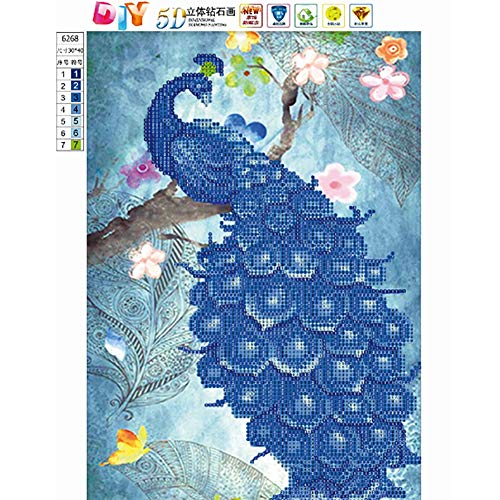 WISREMT DIY Diamond Painting Kit Full Drill Embroidery Cross Stitch Arts Craft Canvas Wall Home Decor Craft for Adults or Kids 30x40CM (Blue Peacock, 11.8\