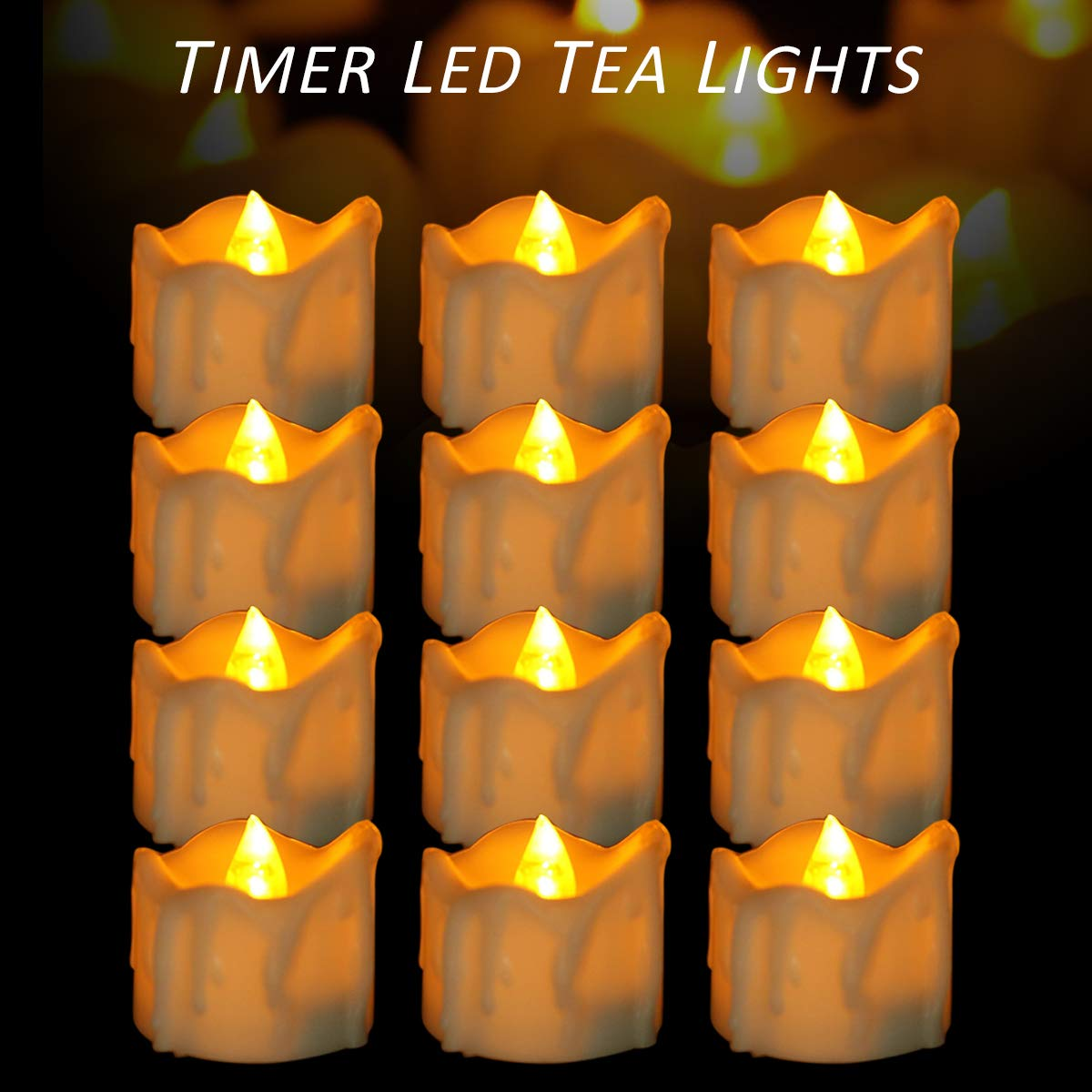 Micandle 12 Pack Battery Timer Tea Lights,6 Hours on and 18 Hours Off in 24 Hours Cycle Automatically,| LED+PP | No fire hazards or burning risks | Amber Timing Candles for Wedding Party Church Home D