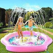 "PRINCESSEA USA 4-in-1 Splash Pad for Kids, XXL 70"" Outdoor Children's Water Pad, Wading Pool & Sprink"