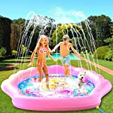 """PRINCESSEA USA 4-in-1 Splash Pad for Kids, XXL 70"""" Outdoor Children's Water Pad, Wading Pool & Sprinkler & Play Mat for Girls - Inflatable Kiddie Swimming Pool, Water Toys for Toddlers 12 Months & Up"""