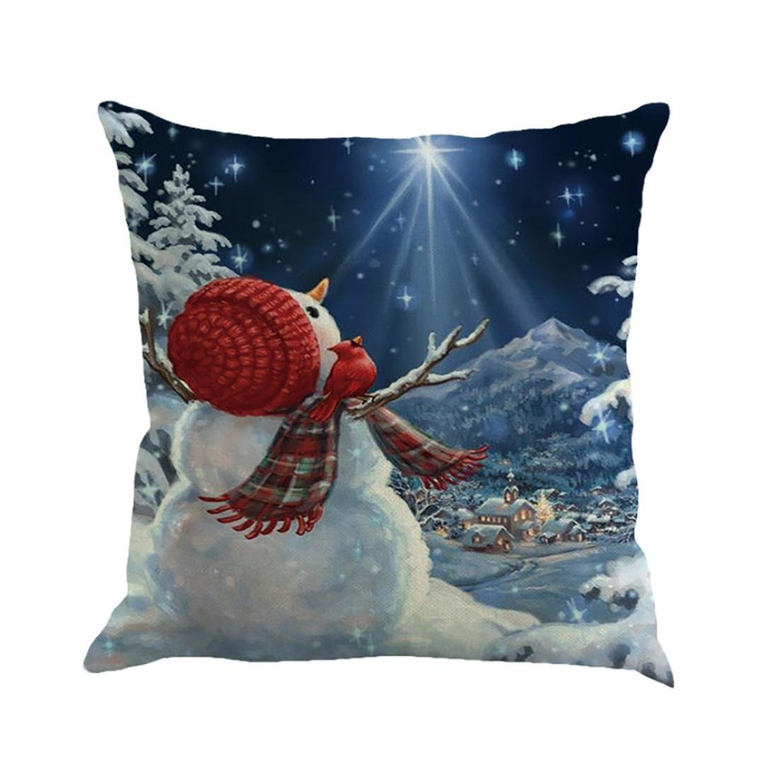 Christmas Pillowcase Throw Cushion Covers Mingfa Soft Cotton Linen Xmas Snowman Printing Pillow Cover for Sofa Bed Home (A) Mingfa.y BHBAUKHAZA890