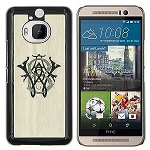 Wb Iniciales Letras Caligrafía Marca- Metal de aluminio y de plástico duro Caja del teléfono - Negro - HTC One M9+ / M9 Plus (Not M9)
